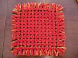 A pillow top woven by Barbara Jarvis
