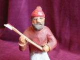 Wooden carving of lumberman with axe, Botwood