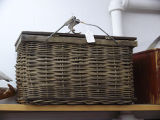 Woven mill lunch basket with thin handles, Corner Brook