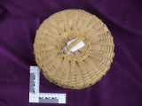 Woven basket with lid and diamond curlique designs, Nova Scotia