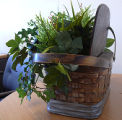 A woven mill lunch basket repurposed as a planter, Corner Brook