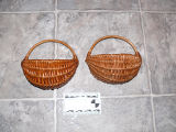 "Two spruce root ""half baskets"" made by Anthony White, Flat Bay"