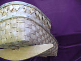 Woven cradle with rocker and diamond curlique designs on hood, Nova Scotia