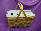 Mill lunch basket with woven bottom and lid, Corner Brook