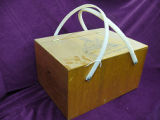 Plywood lunch basket with plastic handles, Corner Brook