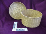 Coiled grass basket with lid, Labrador