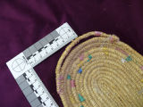 Colied grass basket with multicolour design, Rigolet