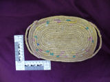 Coiled grass basket with multicolour design, Rigolet