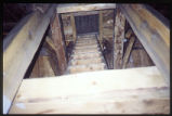 Ladder to bell tower, church attic, Moravian Church, Hopedale, Labrador