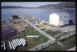Wharf from bell tower, Moravian Church, Hopedale, Labrador