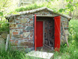 O'Brien root cellar, doors open, Portugal Cove-St.Philip's.
