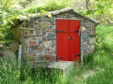 O'Brien root cellar, doors closed, Portugal Cove-St.Philip's.