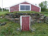 Sparkes root cellar 1, front exterior, Sparkes Beach, Bay Roberts