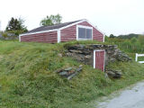 Sparkes root cellar 1, exterior in hill, Sparkes Beach, Bay Roberts