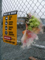 Spontaneous memorial at the construction site of a Fortis Building