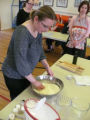 Lesiv, Mariya. Photo of Mariya Lesiv teaching how to make the pierogi dough at the Pierogi Workshop.