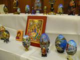 Nikolajeva, Ljudmila. Photo of some of her handpainted Easter Egg display at Newfiki: Cultural Concert
