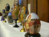 Nikolajeva, Ljudmila. Photo of some of her handpainted Easter Egg display at Newfiki: Cultural...