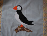 Young, Joyce.  Puffin panel from an applique Newfoundland quilt made by Joyce Young, Quirpon.