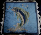 Young, Joyce.  A fish themed quilted pillow cover made by Joyce Young, Quirpon.