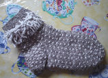 Young, Joyce.  A pair of grey thrum knit socks made by Joyce Young, Quirpon.