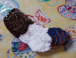 Young, Joyce.  A pair of baby socks made by Joyce Young, Quirpon.
