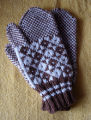 Patey, Karen H.  Traditional diamond pattern mittens made by Karen Patey, Quirpon.