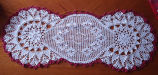 Patey, Karen H.  A table runner crocheted by Karen Patey, Quirpon.