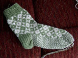 Roberts, Sharon.  A double knit sock made by Sharon Roberts, Quirpon.