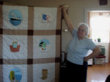 Reid, Marie and Oliver.  A painted Newfoundland quilt made by marie Reid, Roddickton.