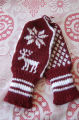 Reid, Marie and Oliver.  A pair of double knit moose mittens made by Marie Reid, Roddickton.