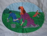 Reid, Marie and Oliver.  A berry picking scene from a painted Newfoundland quilt made by Marie...