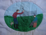 Reid, Marie and Oliver.  A net mending scene from a painted Newfoundland quilt made by Marie Reid,...