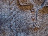 Dower, Alice.  Close-up of cable of a child sized sweater made by Alice Dower, Conche,...