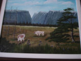 Pilgrim, Ruth.  A caribou scene painted by Ruth Pilgrim, St. Anthony Bight.