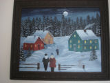 Pilgrim, Ruth.  A winter mummering scene painted by Ruth Pilgrim, St. Anthony Bight.