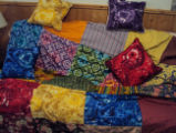Tucker, Clara.  Matching tie dyed pillows and quilt made by Clara Tucker, St. Anthony.