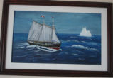 Pilgrim, Ruth.  A ship and iceberg painting b y Ruth Pilgrim, St. Anthony Bight.