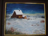 Pilgrim, Ruth.  A winter house scene painted by Ruth Pilgrim, St. Anthony Bight.