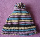 Pilgrim, Ruth.  A striped knit hat made by Ruth Pilgrim, St. Anthony Bight.