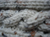 Pilgrim, Ruth.  Close-up of a white knit hat made by Ruth Pilgrim, St. Anthony Bight.