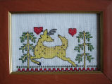 Bromley, Mary. Mary Bromley's first ever cross-stitch, Conche, Newfoundland.