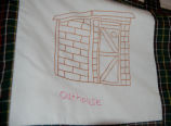 Bussey, Winnie.  An embroidered image of an outhouse from a Newfoundland quilt, St....