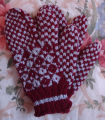Bromley, Mary.  Traditional diamond pattern trigger-finger gloves made by Mary Bromley, Conche,...