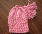 Myers, Annette.  Pink winter hat made by Annette Myers, Bird Cove.