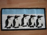 Dredge, Blanche.  Penguin themed hooked mat made by Blanche Dredge, Black Duck Cove.
