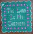 Dredge, Blanche.  'The Lord Is My Shepard' sign in plastic canvas made by Blanche Dredge, Black...