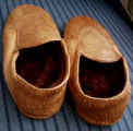 Parrill, Rita.  Sealskin slippers made by Rita Parrill, Lower Cove.