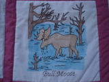 Parrill, Rita.  'Bull moose' panel from a Newfoundland quilt made by Rita Parrill, Pines Cove.