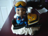 Noseworthy, Doreen.  A hand painted ceramic snowmobile character belonging to Doreen Noseworthy,...